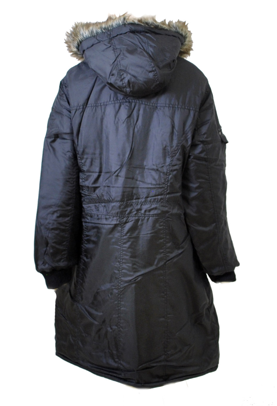 Ladies Plus Size Parka Coat With Fur Trim Hood